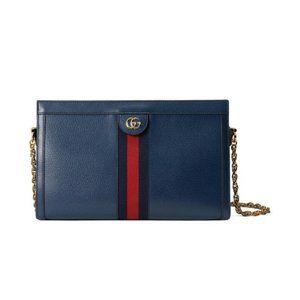 Crossbody Medium Ophidia Blue Leather Shoulder Bag